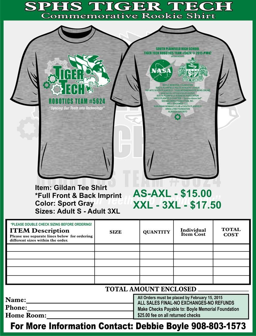 SPHS Tiger Tech Commemorative Shirts : South Plainfield Education